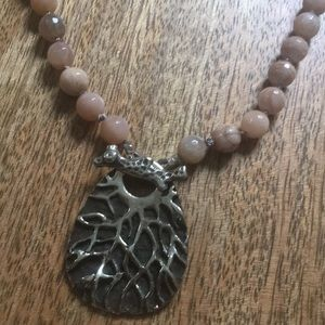 Moonstone necklace with white bronze clasp